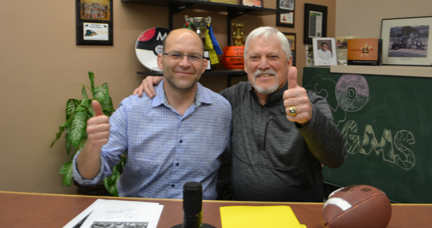 "CFL & Edmonton Eskimos Legend, Dave Cutler, visits Studio 85 to meet with our ""City of Champions"" stalwart, Mr. Seaberg."