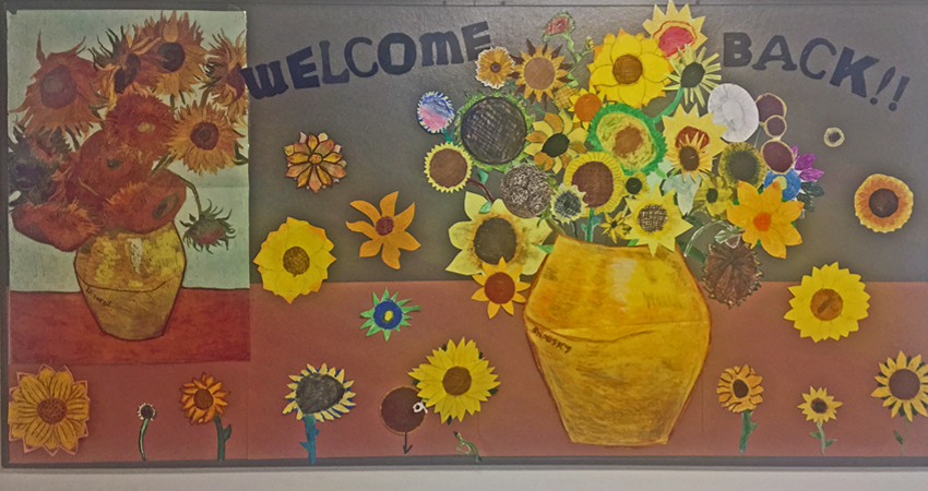 Inspired by Van Gogh, Ms. Skolsky's Art Exploratory brightens our walls & halls again.