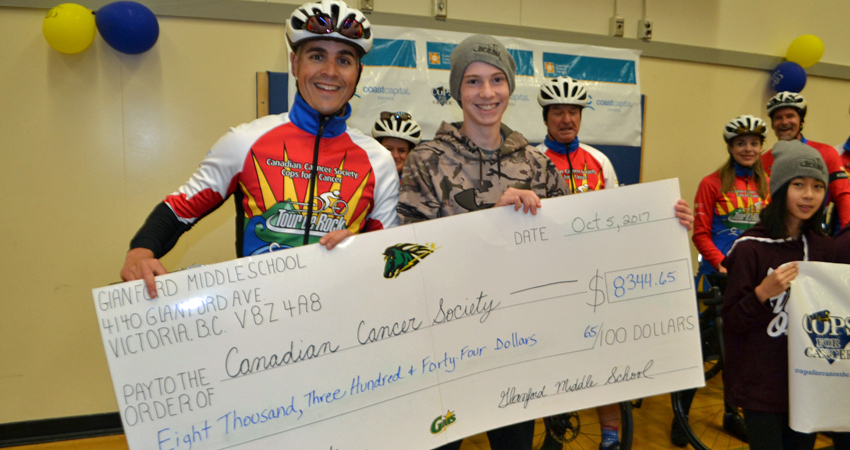 """""""Cheque"""" this out.  GMS & the Cops for Cancer join forces to help the kids."""