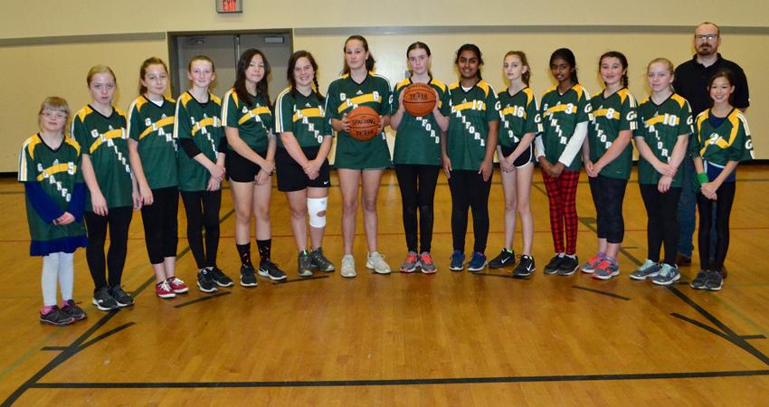 The Grade 6-7 Girls' Basketball Team