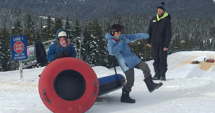 """Executing the rarely seen and incredibly difficult """"Snow Tube Shuffle"""""""