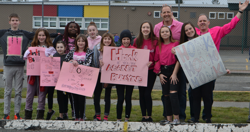 Standing Up against bullying on Pink Shirt Day