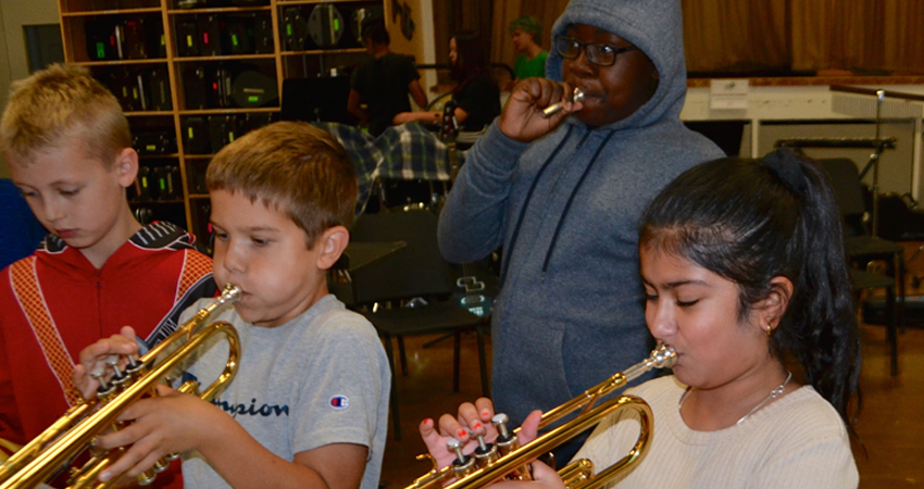 Rookies give it a blow at the Instrument Zoo
