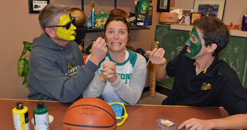 Ms. Devlin unites with the Face Painters for the big playoff game.